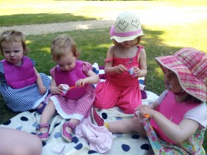 Picnicing at Claremont in Surrey.