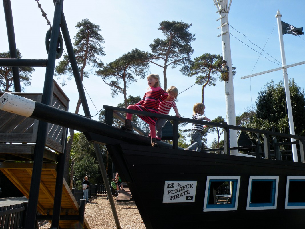The Pirate ship, one of the attractions in the adventure playground