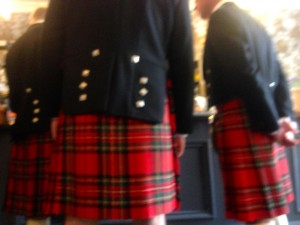 Sofia's sneaky pic of the kilted men